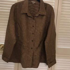 CHRISTOPHER & BANKS- Gold blouse size: XL